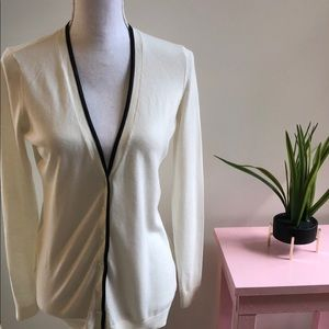 Ann Taylor Cardigan Off White With Black trim